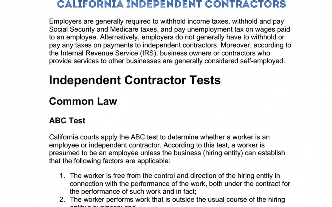 California Independent Contractors