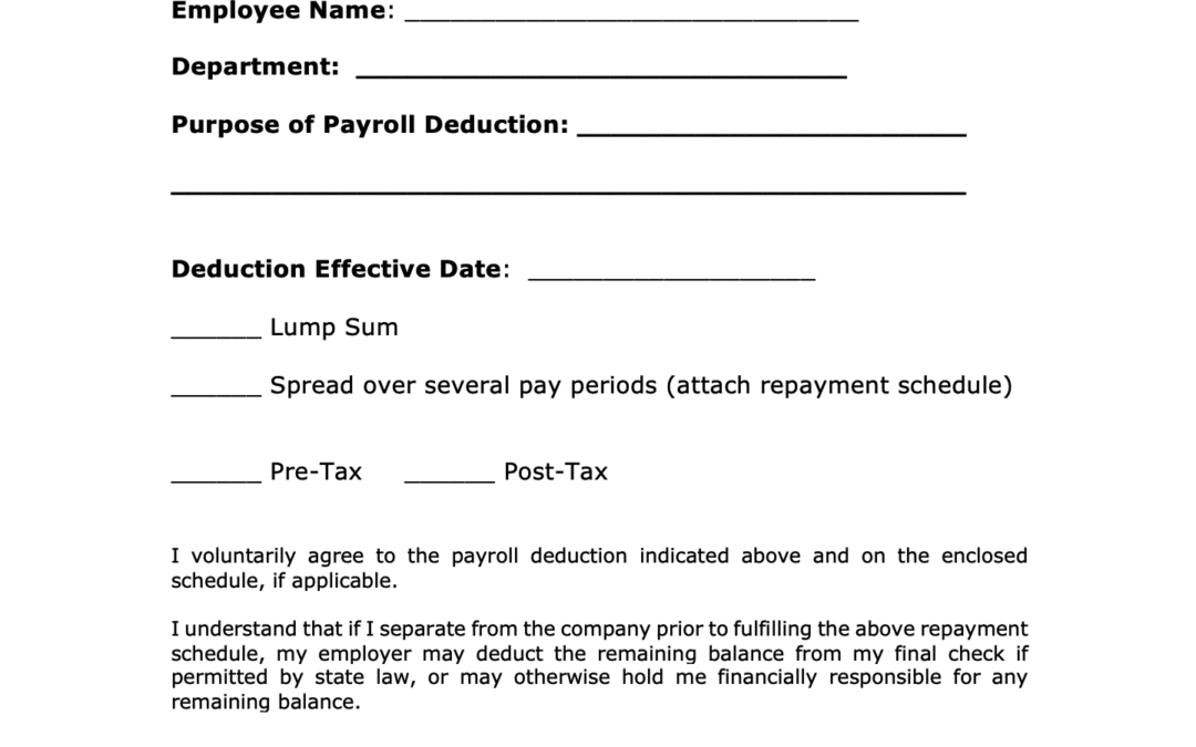 Payroll Deduction Authorization